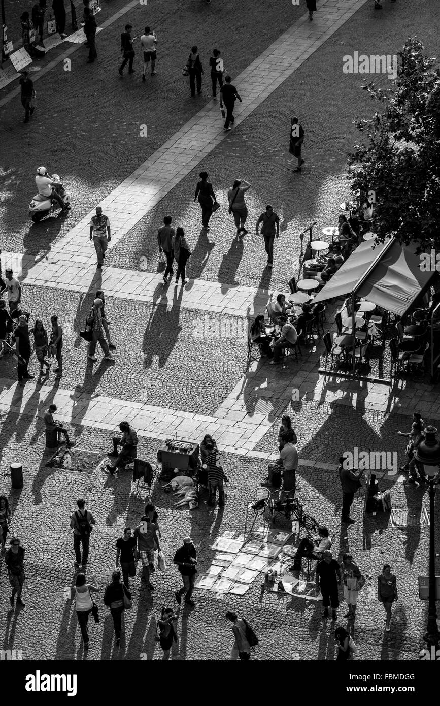 High Angle View Of People At Town Square - Stock Image