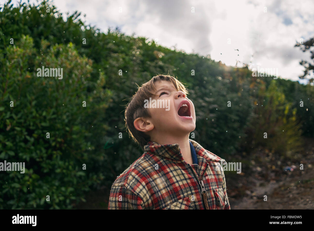 Boy trying to catch raindrops in his mouth - Stock Image