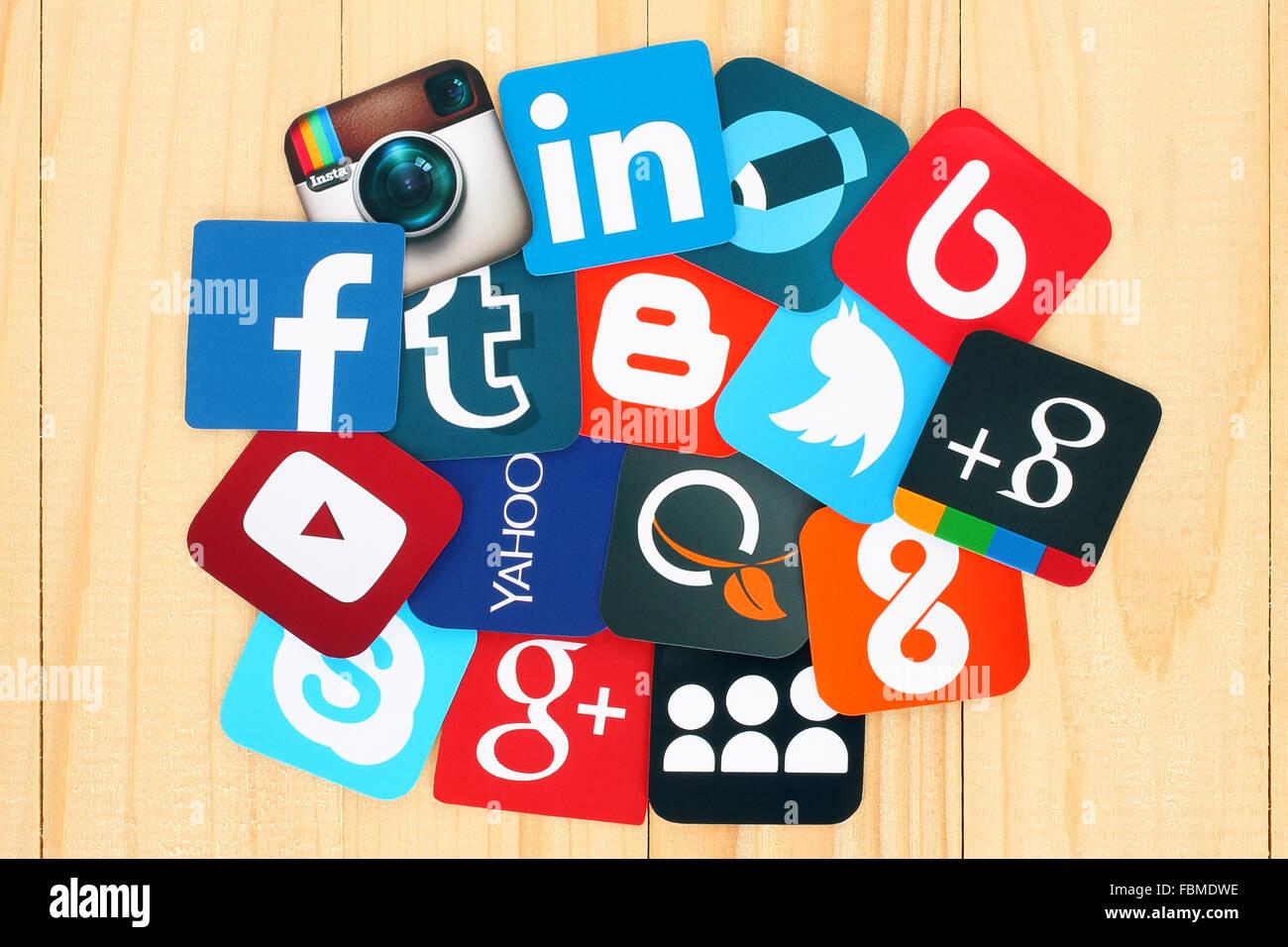 Kiev, Ukraine - July 01, 2015: Famous social media icons such as: Facebook, Twitter, Blogger, Linkedin, Tumblr, - Stock Image