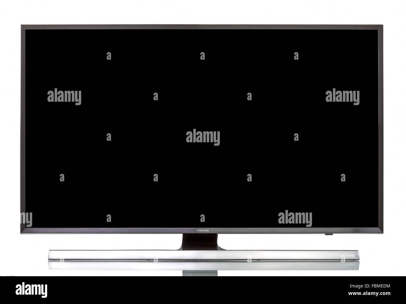 "Studio shot of a Samsung 4K UHD JU7000 Series Smart TV - 40"" Class (40.0"" Diag.) - Stock Image"