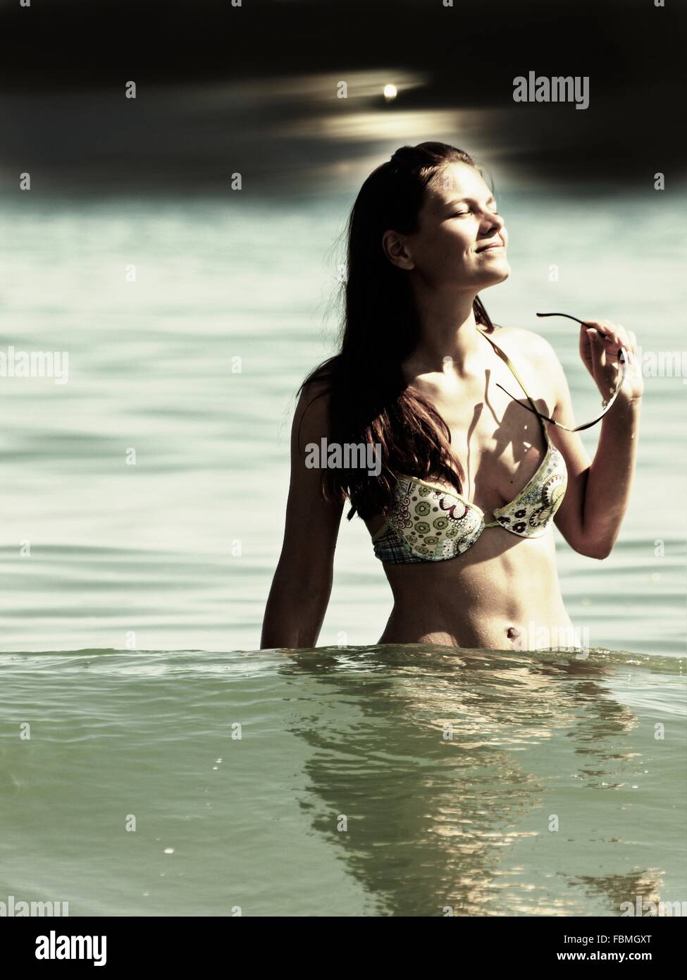 Bikini Woman In Sea Stock Photo