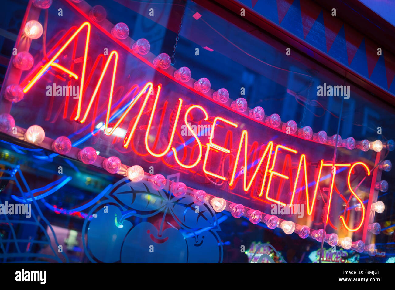 Amusements neon sign Soho London UK - Stock Image