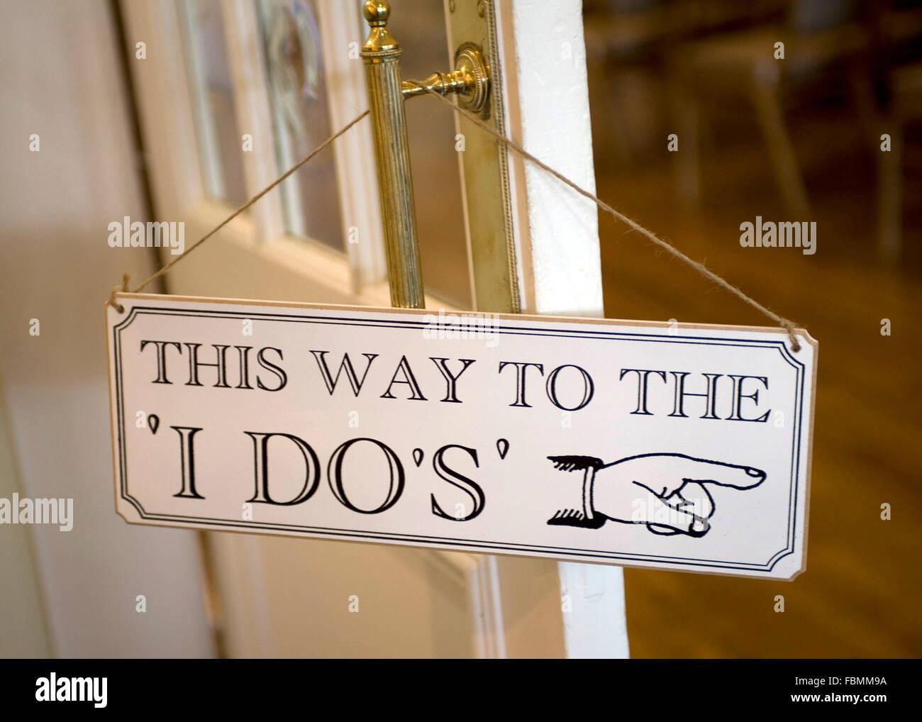 Sign for weddings saying 'I do' - Stock Image