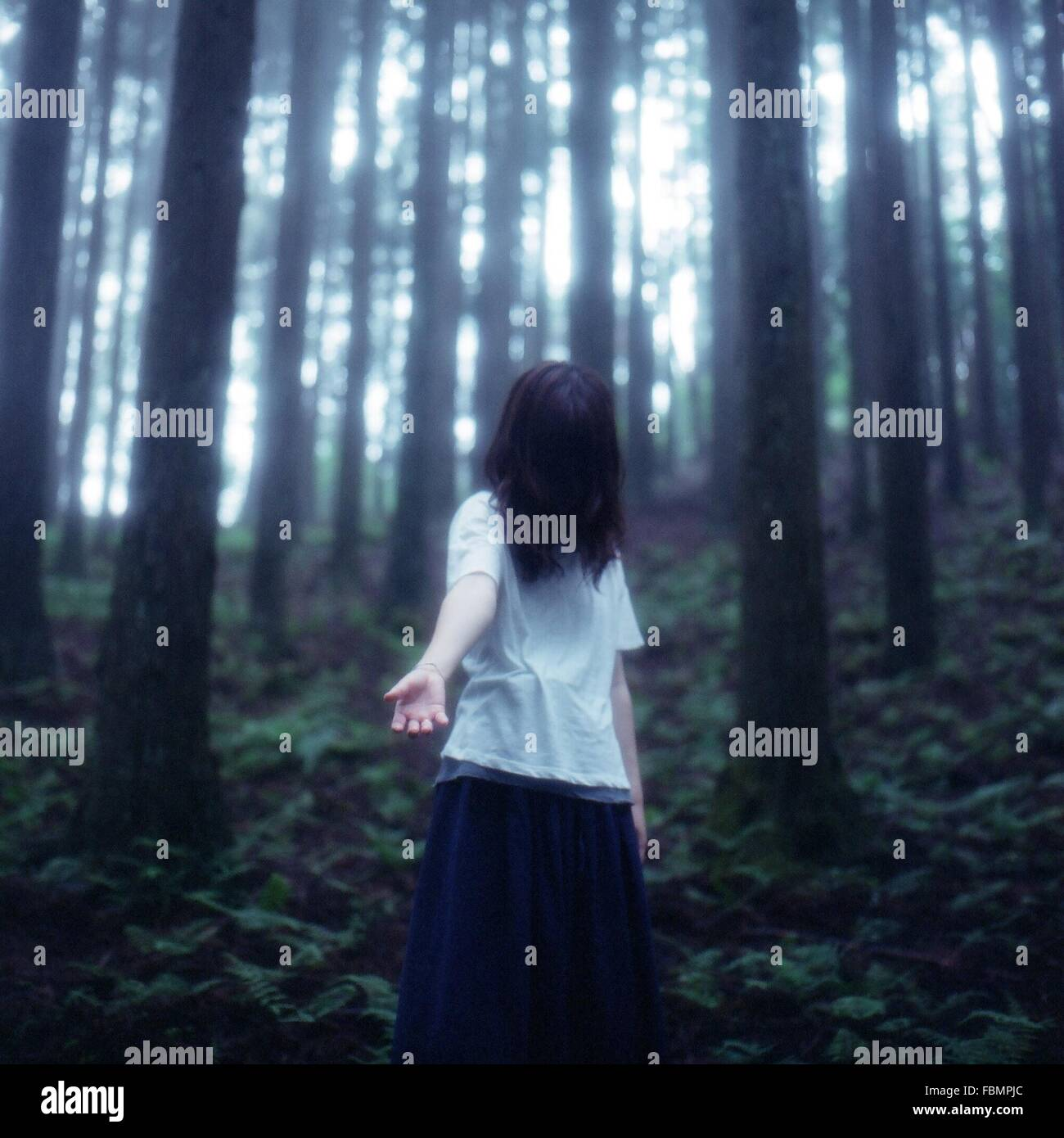 Lone Woman In Forest - Stock Image