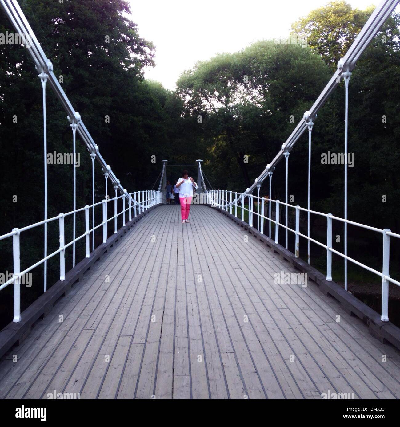 Woman Standing On Bridge In Forest Stock Photo