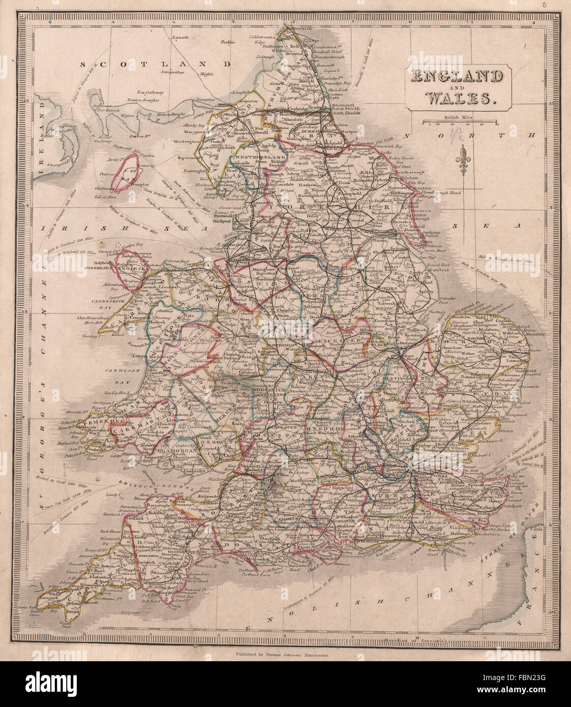 Map Of England And Wales Showing Counties.England Wales Showing Counties Railways Original Colour