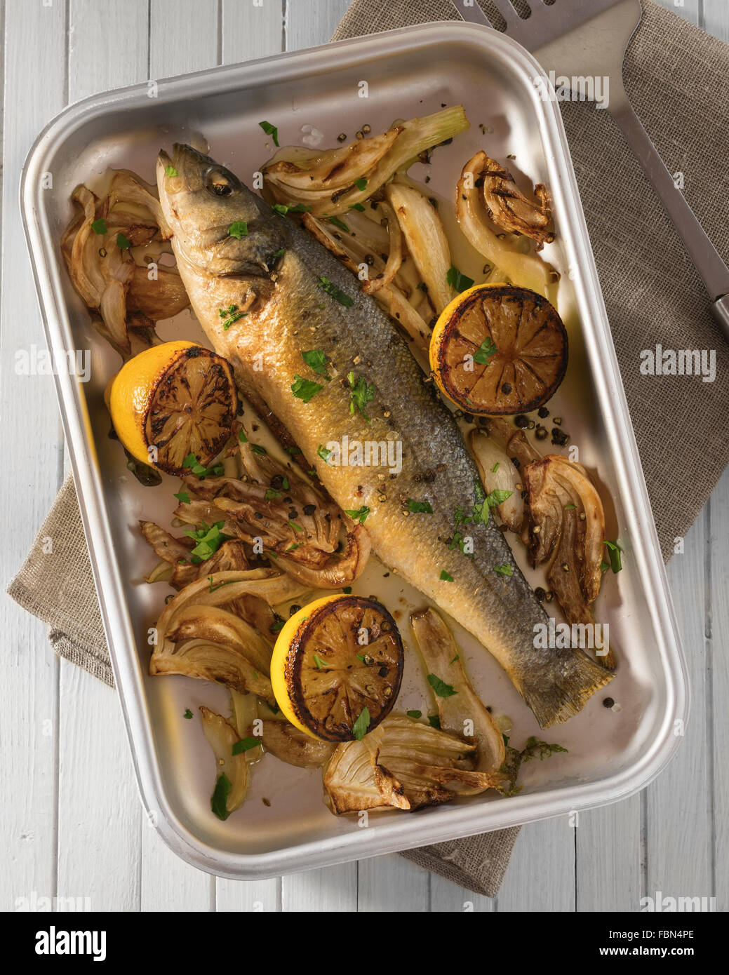 Baked sea bass with fennel and lemon - Stock Image