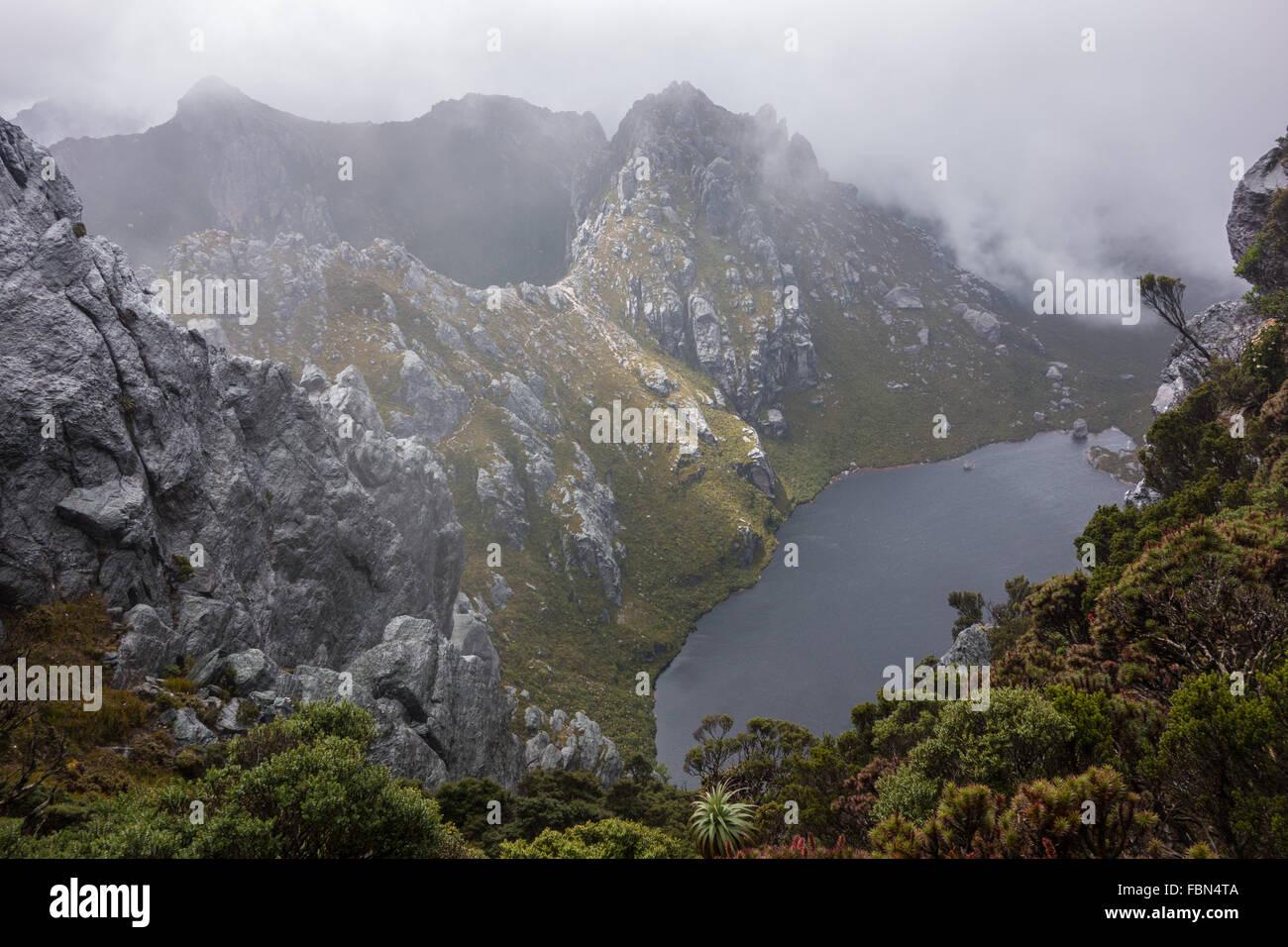 Lakes and mountains, Western Arthurs range - Stock Image