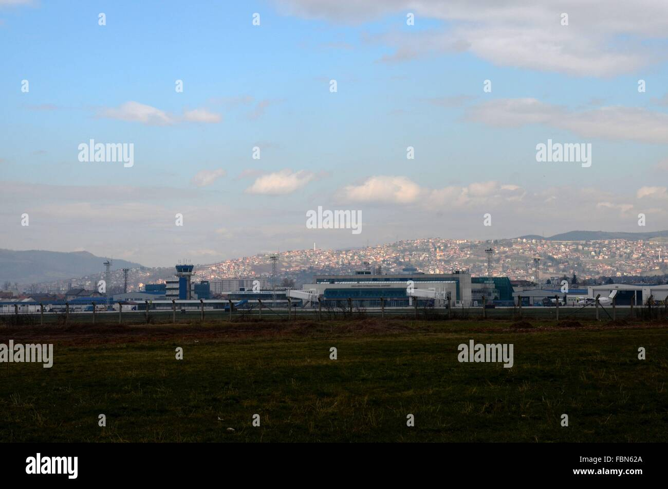Sarajevo international airport runway control tower and planes Bosnia - Stock Image