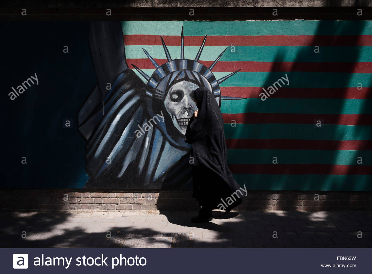 Anti-American mural on the wall of the former American Embassy 'Den of Espionage' - Stock Image