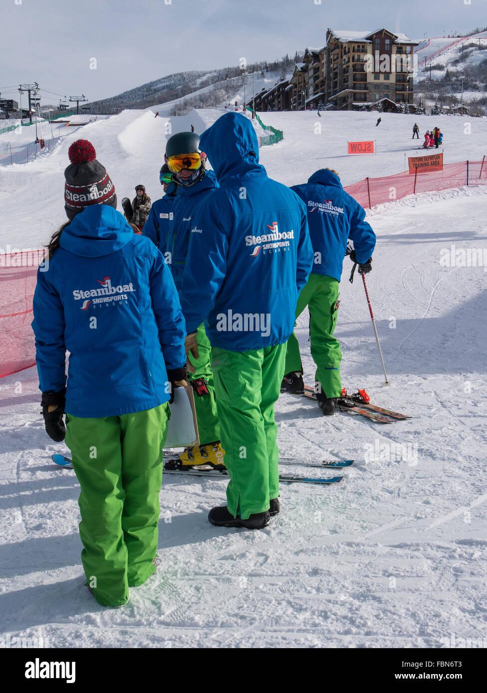 Steamboat Snowsports School instructors, Steamboat Ski Resort, Steamboat Springs, Colorado. - Stock Image