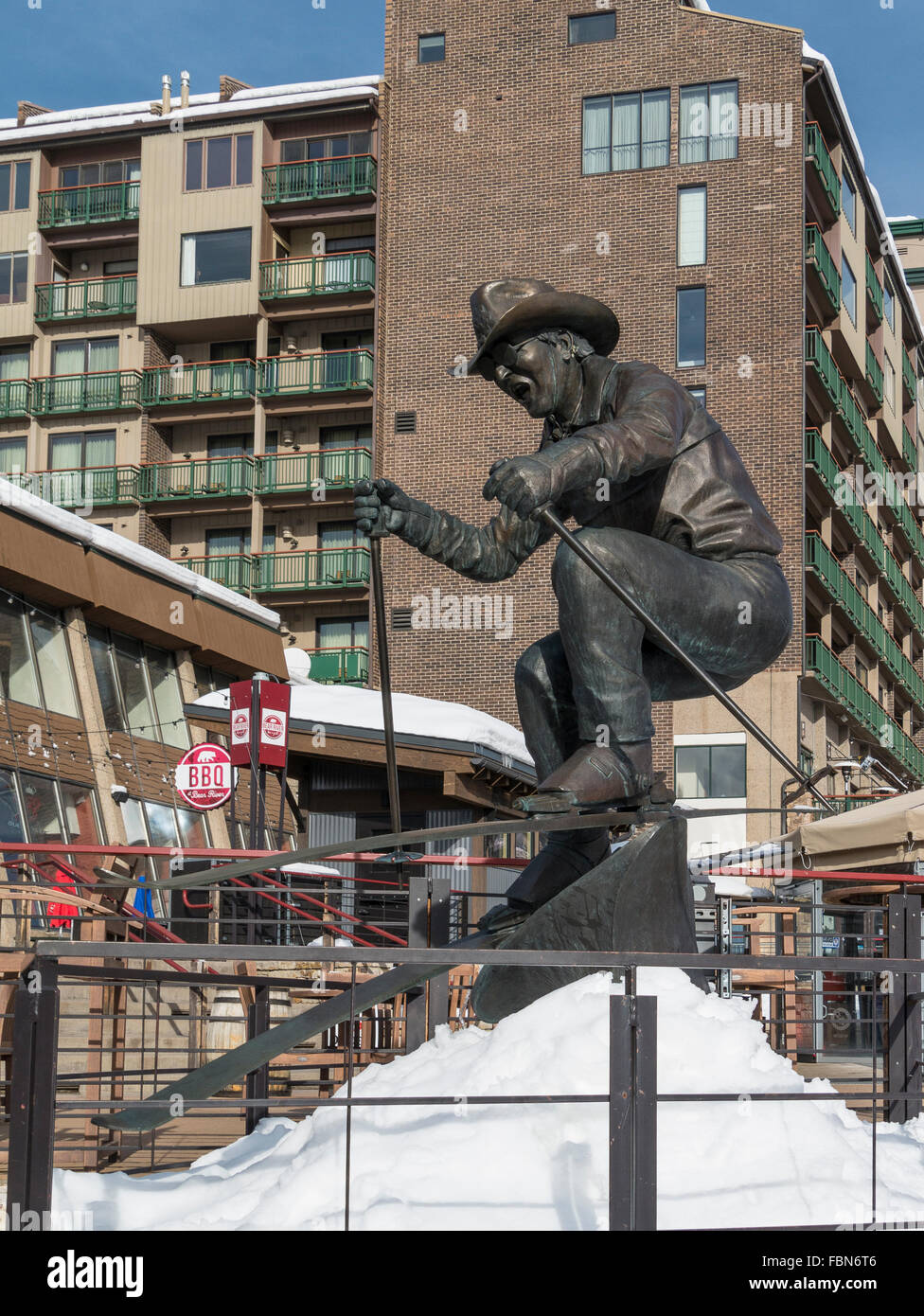 Billy Kidd statue, Steamboat Ski Resort, Steamboat Springs, Colorado. - Stock Image