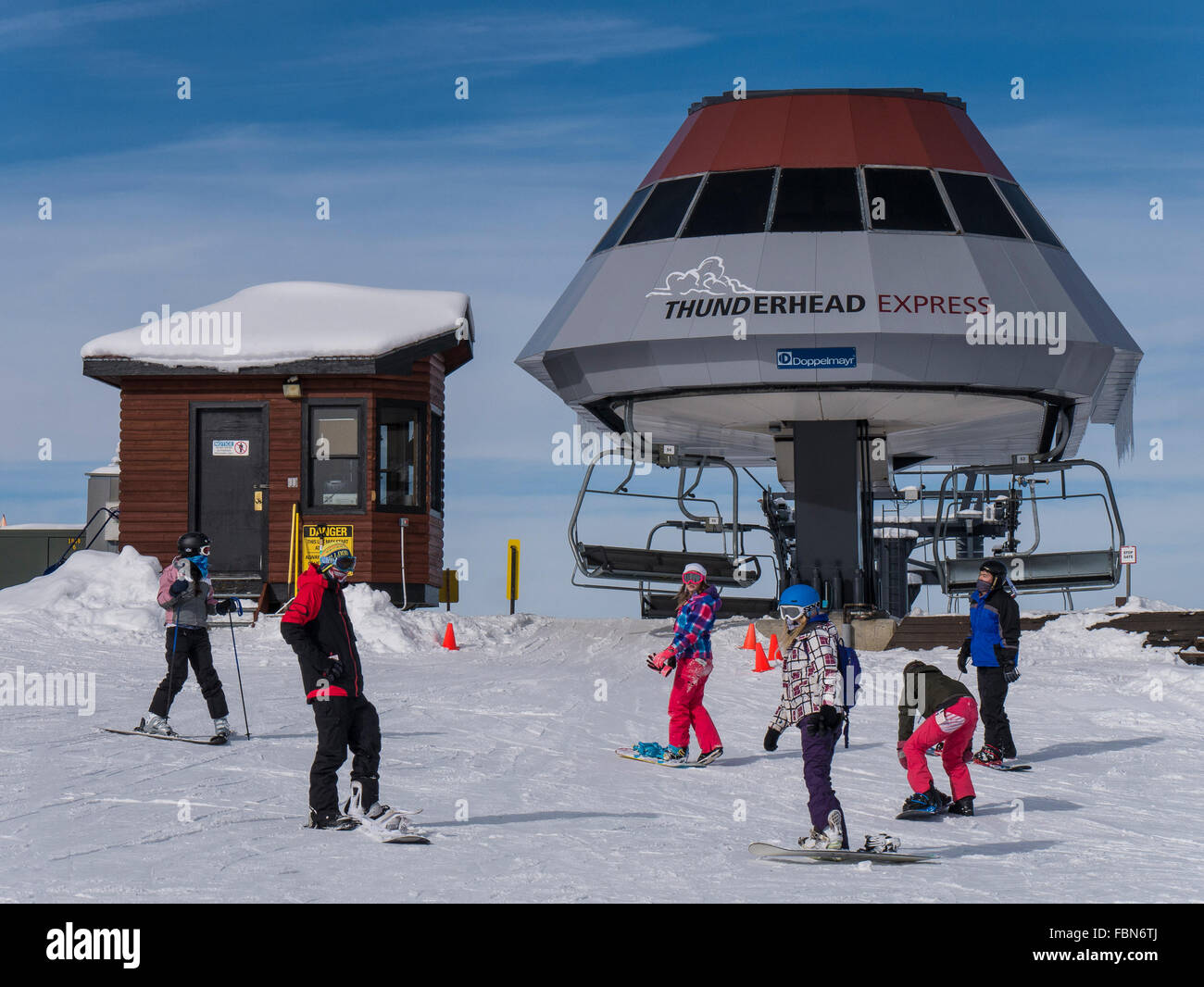 Top of the Thunderhead Express chairlift, Steamboat Ski Resort, Steamboat Springs, Colorado. - Stock Image