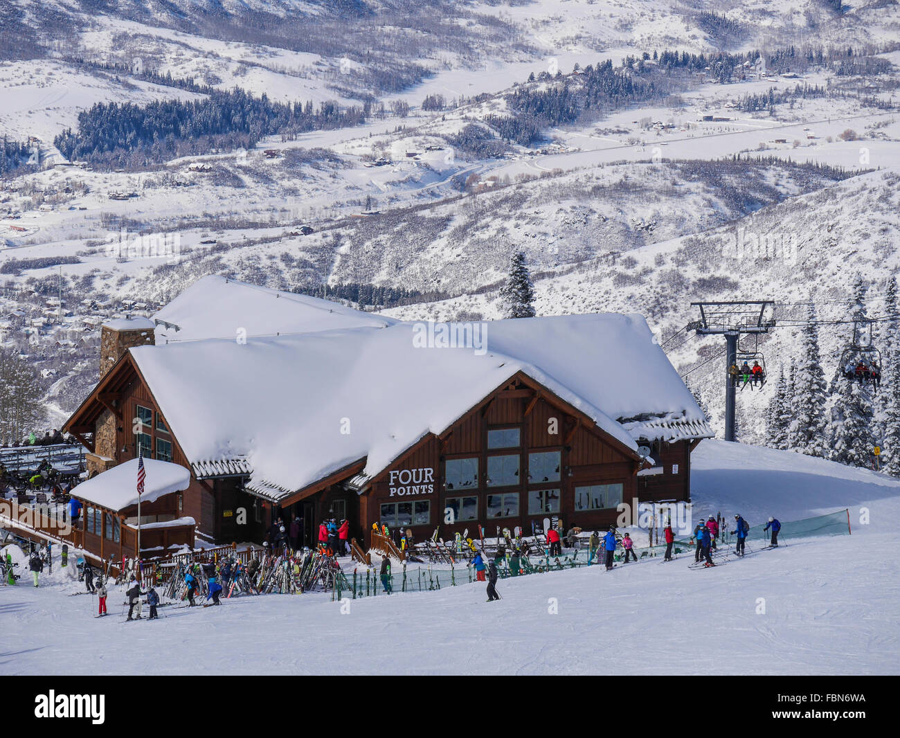 View of Four Points Lodge, Steamboat Ski Resort, Steamboat Springs, Colorado. - Stock Image