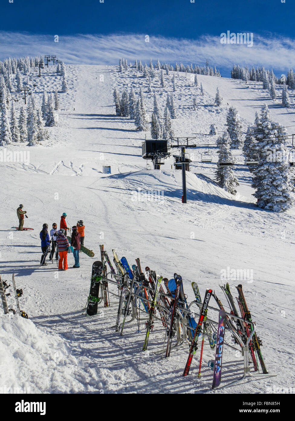 Racks of skis, Four Points Lodge, Steamboat Ski Resort, Steamboat Springs, Colorado. - Stock Image