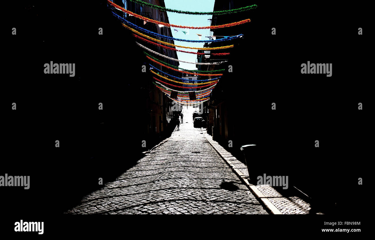 Decorations Hanging Above Street - Stock Image