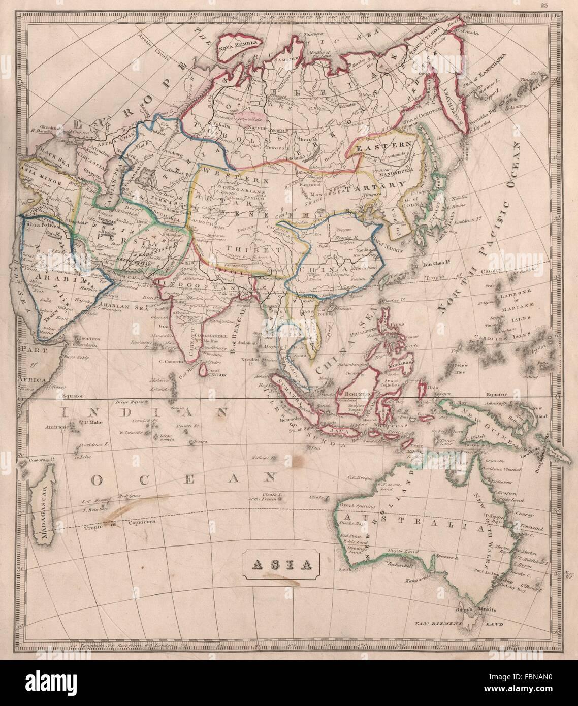 Asia W/ Great Wall Of China Tartary Siam Anam.sarawak Kingdom Weller 1862 Map