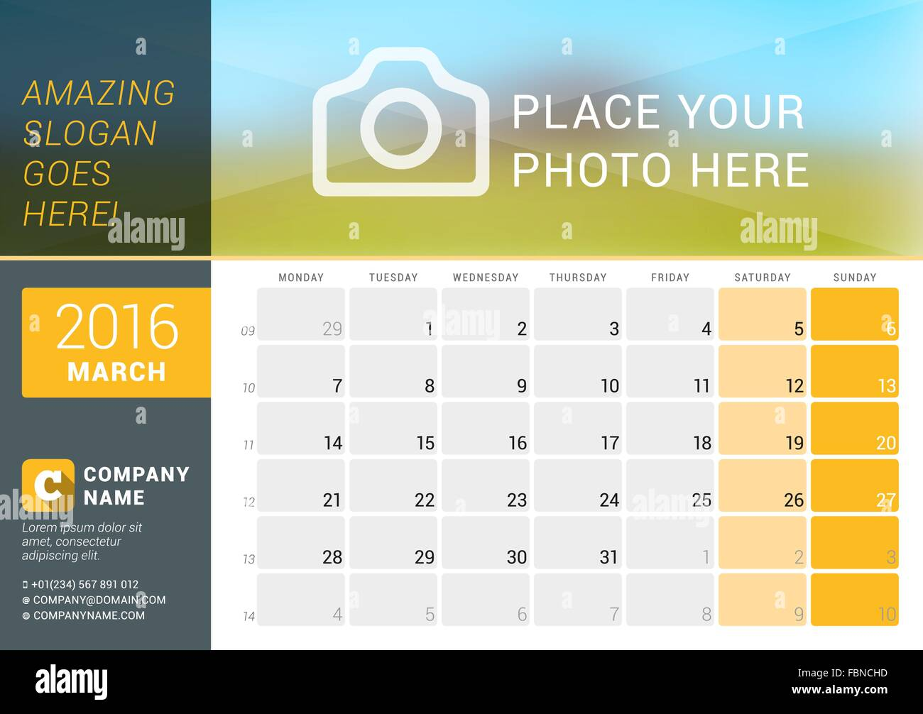 March 2016 Desk Calendar For 2016 Year Vector Design Print
