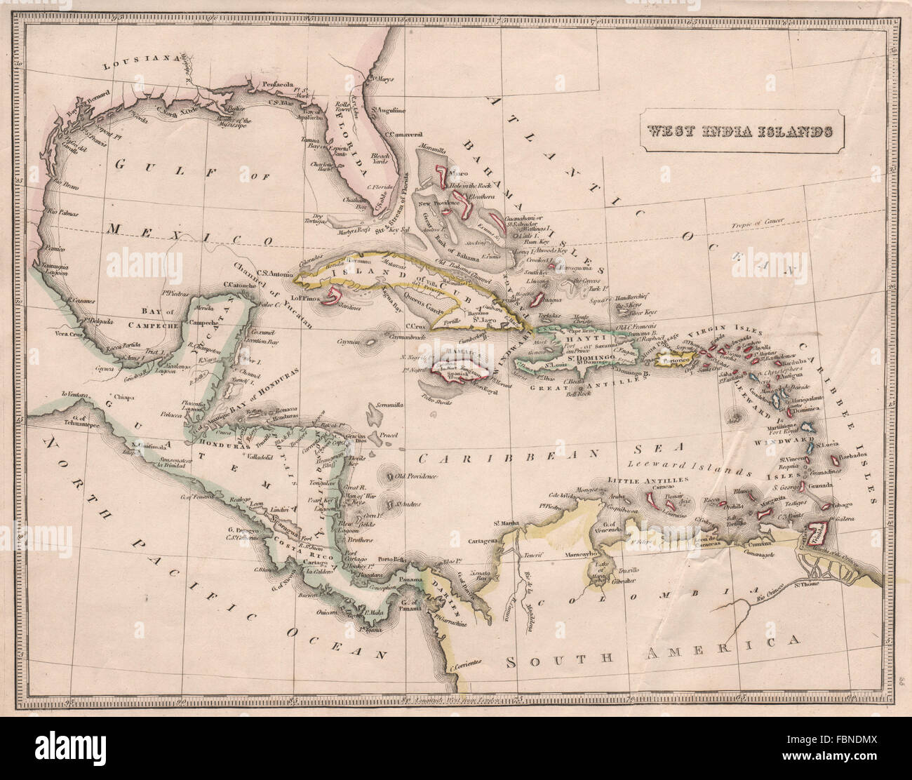 Mexico Map 1850.West India Islands Caribbean Antilles Gulf Of Mexico Johnson 1850