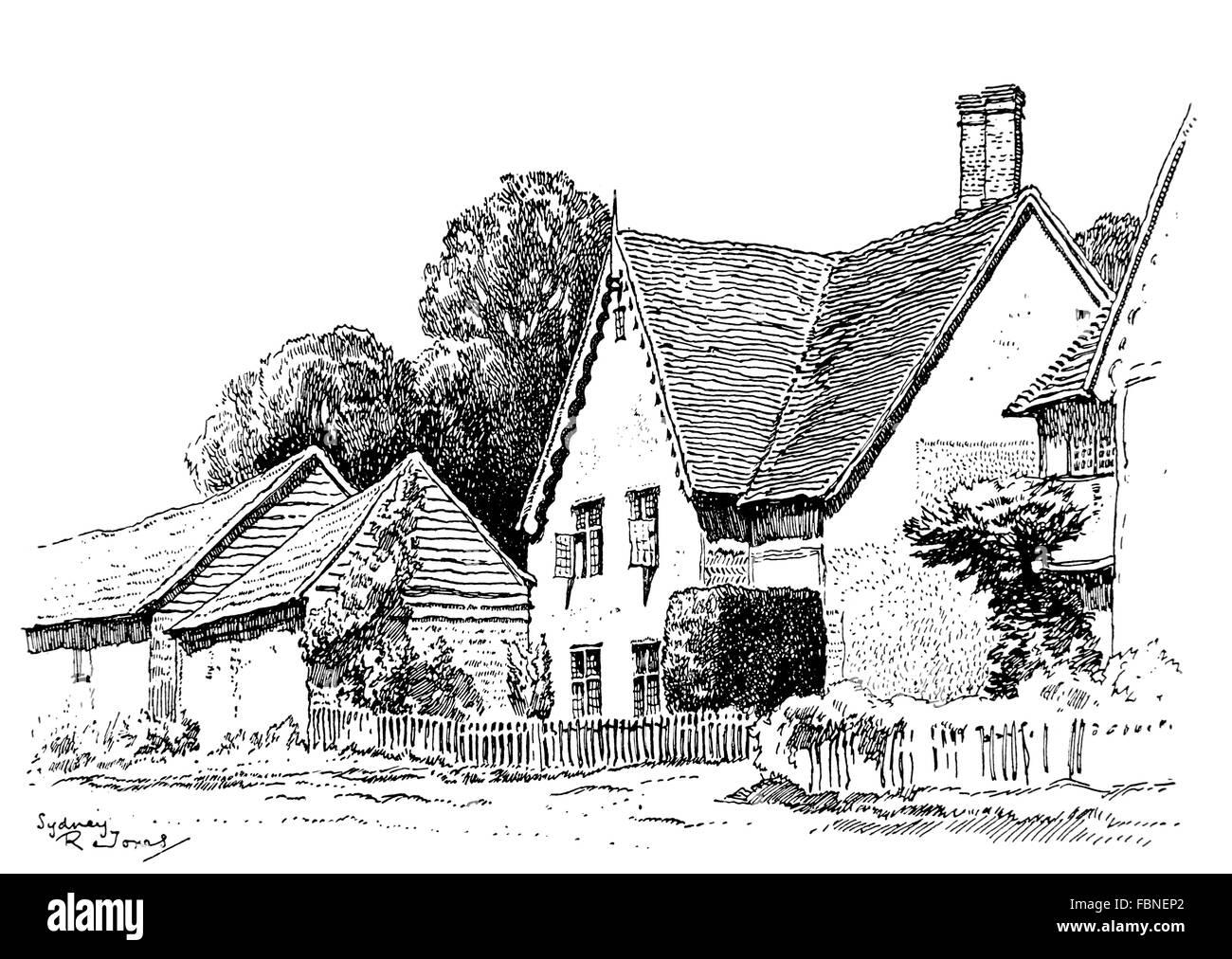 UK, England, Buckinghamshire, Dinton village, old country cottage, 1911 line illustration by, Sydney R Jones - Stock Image