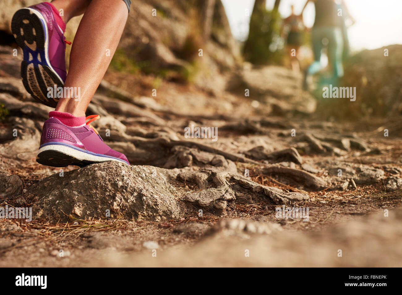 Close up of an athlete's feet wearing sports shoes on a challenging dirt track. Trail running workout on rocky - Stock Image