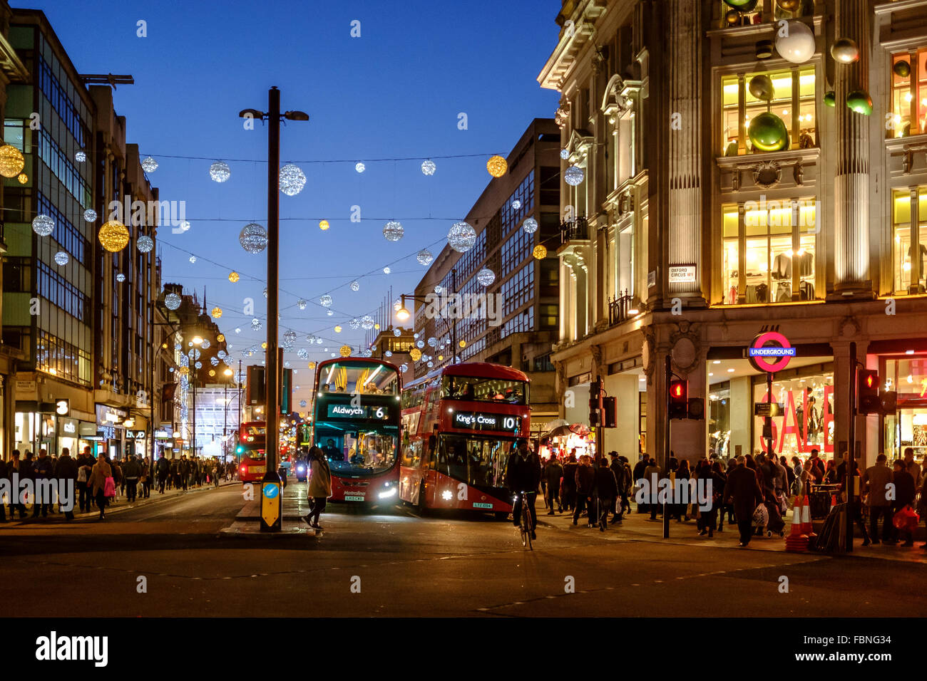 Oxford Circus on Christmas Eve in London, England. - Stock Image
