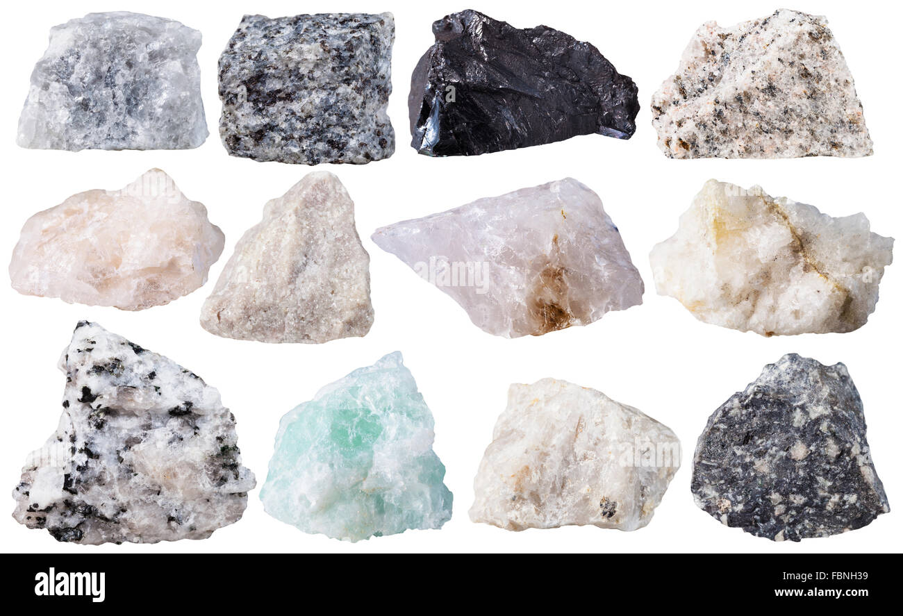 macro shooting of specimen natural rock - set from 12 specimens of mineral stones isolated on white background - Stock Image