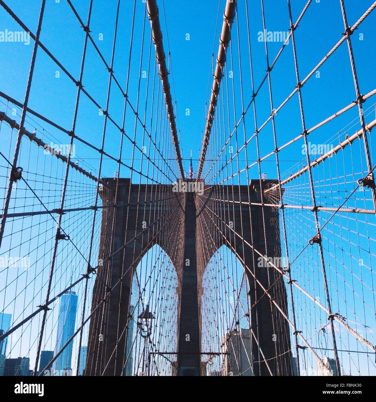 Low Angle View Of Brooklyn Bridge - Stock Image