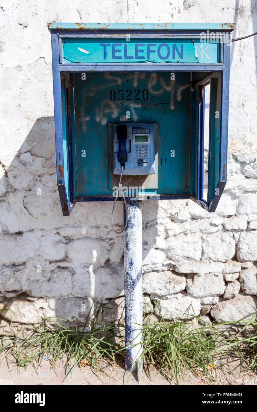 Old Turk Telefon public telephone in Bergama. - Stock Image