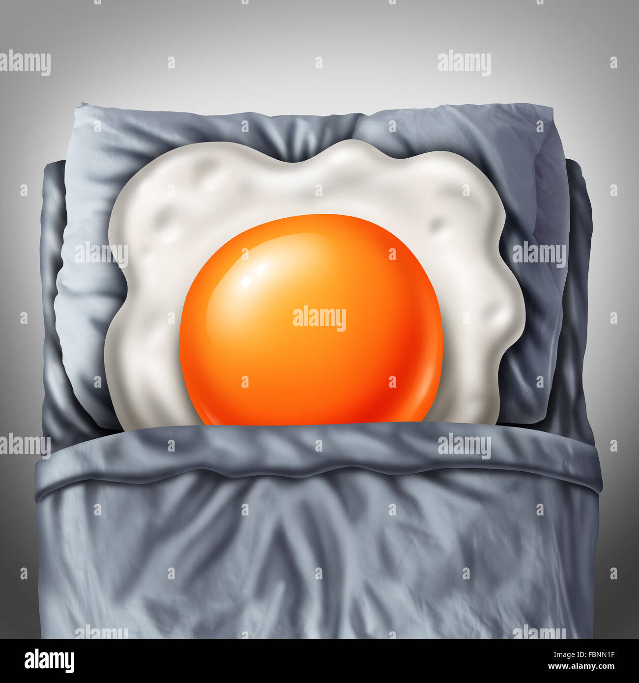 Bed and breakfast concept as a morning fried egg sunny side up resting on a pillow in a room as a metaphor for lodging - Stock Image