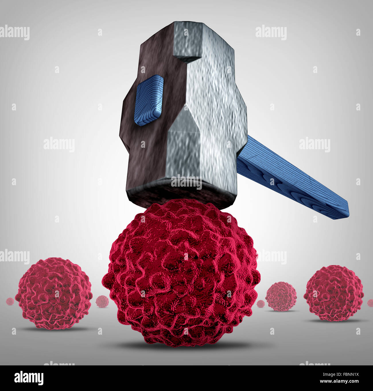 Crush cancer concept as a heavy sledgehammer or hammer crushing and smashing,a cancerous cell as a health care medical - Stock Image