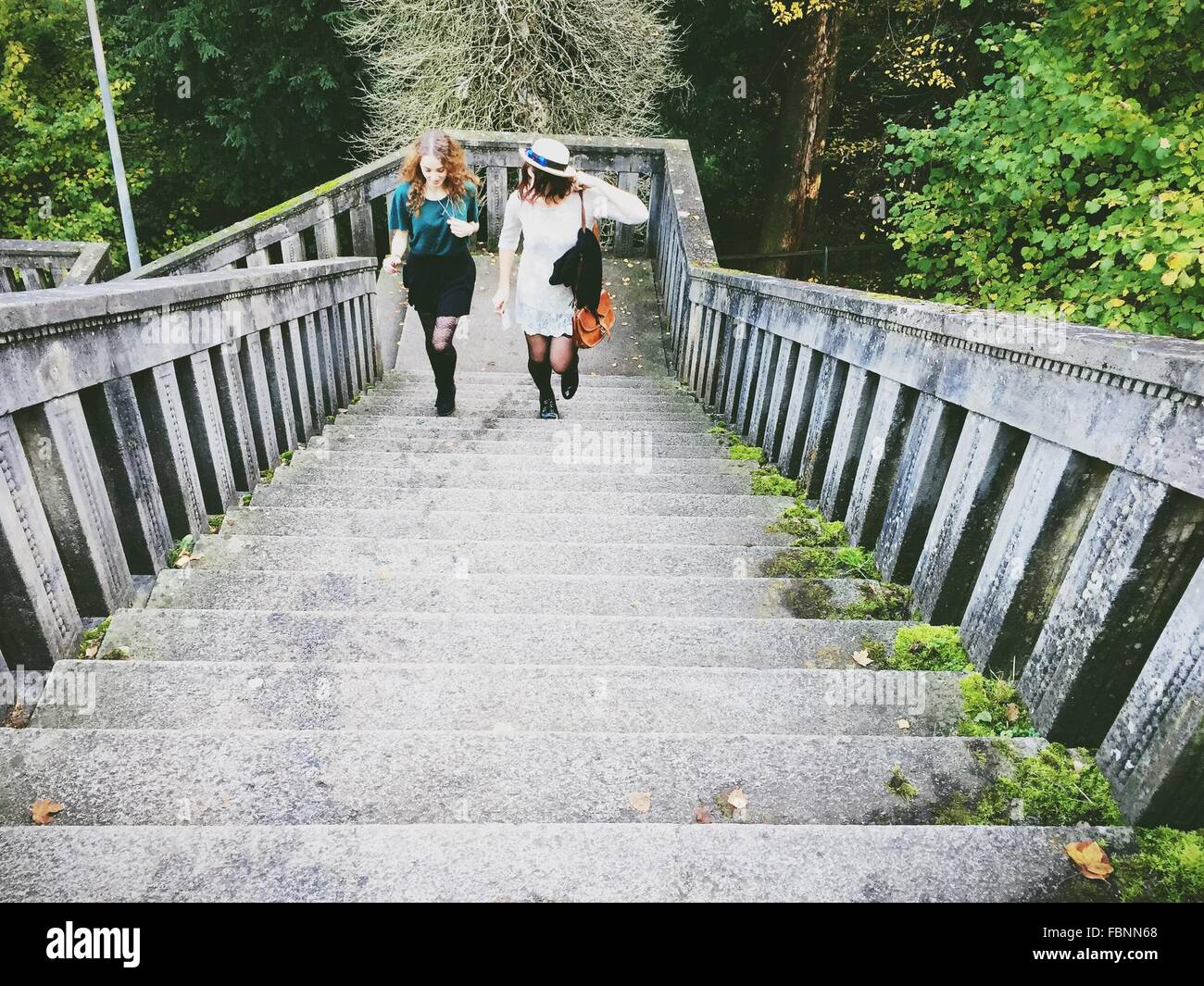 High Angle View Of Young Female Friends Talking While Climbing Steps - Stock Image