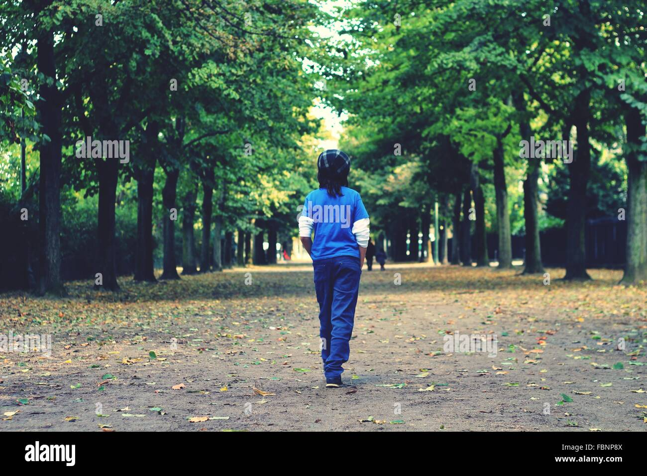 Rear View Of Girl Walking On Street Amidst Trees - Stock Image