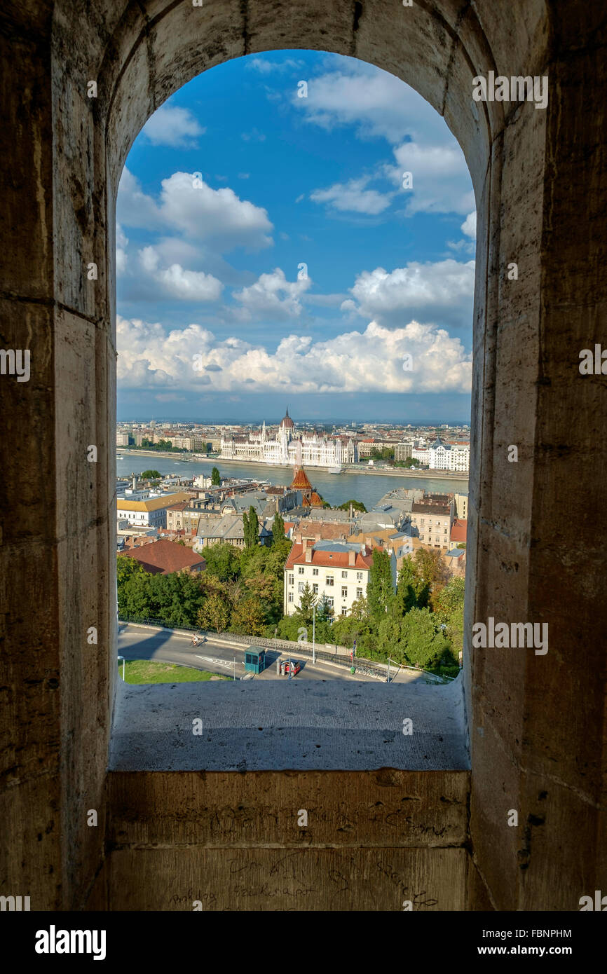 VIEW FROM FISHERMAN'S BASTION, panoramic viewing terrace on Castle Hill on Buda bank of River Danube in Budapest - Stock Image
