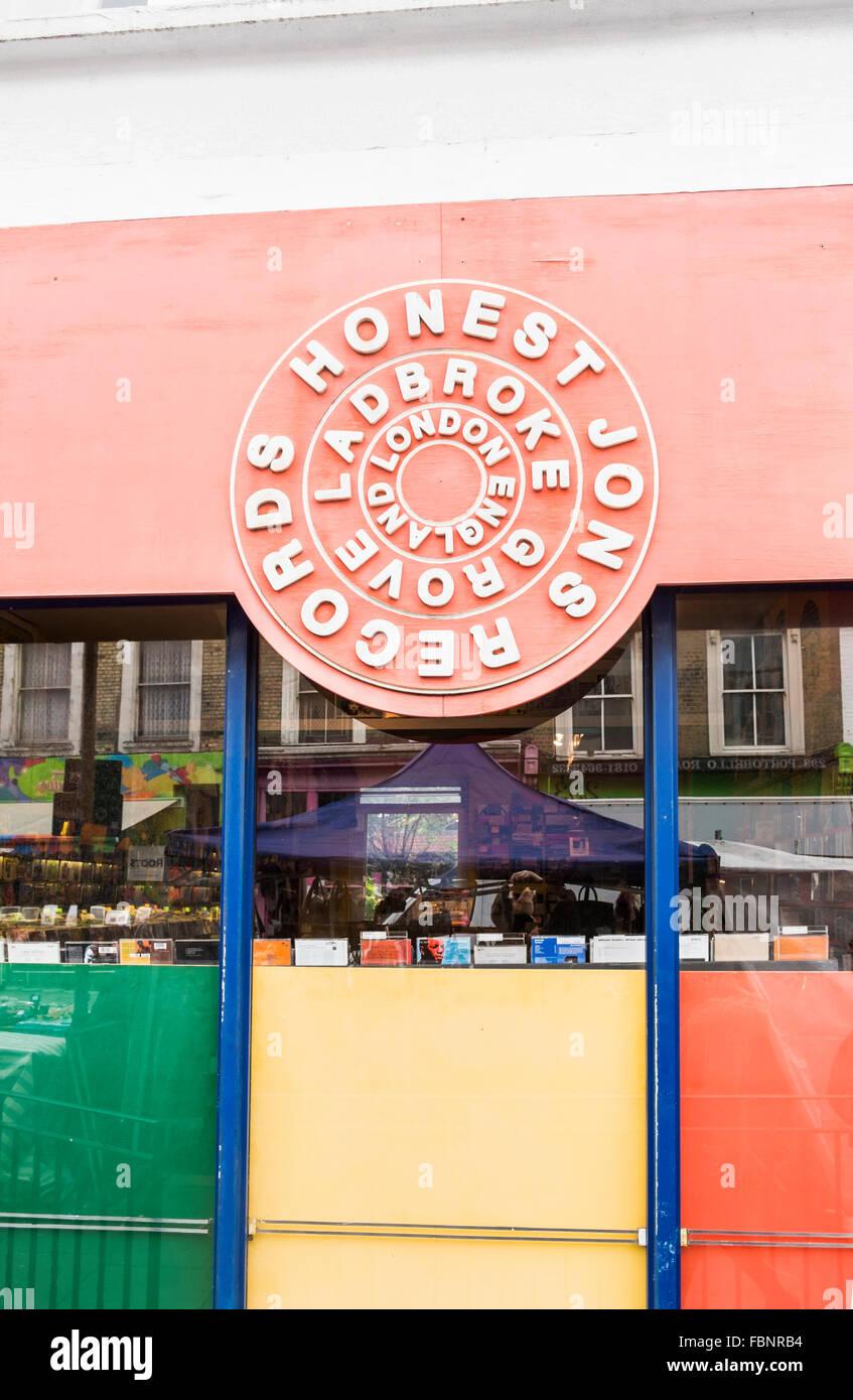 honest jon`s record store at 278 portobello road,  notting hill, london, england - Stock Image