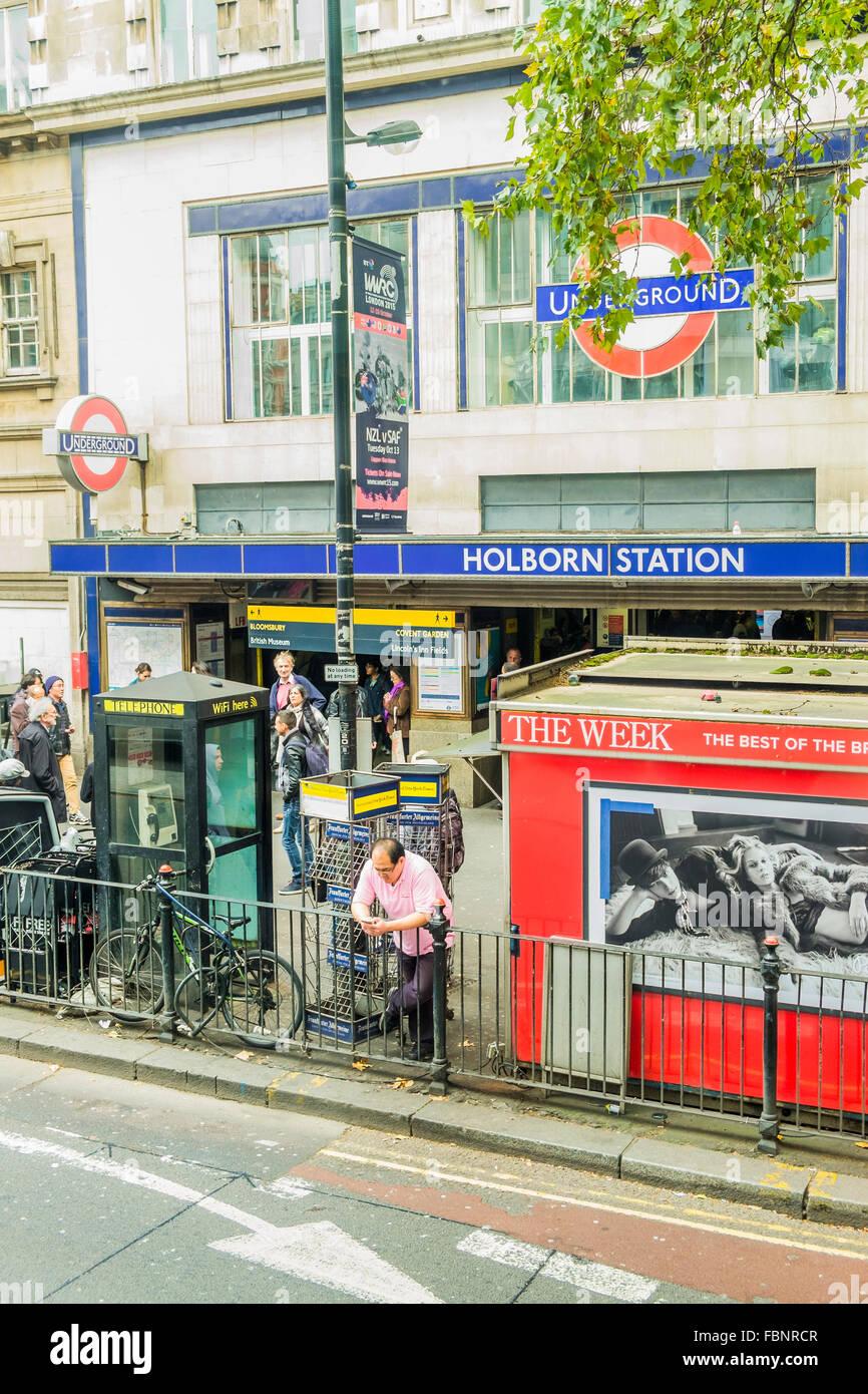 street scene, holborn underground station, london, england - Stock Image