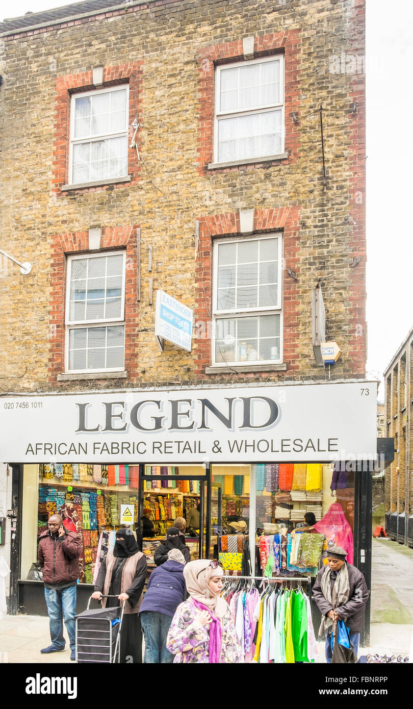 legend, african fabric store, london, england - Stock Image
