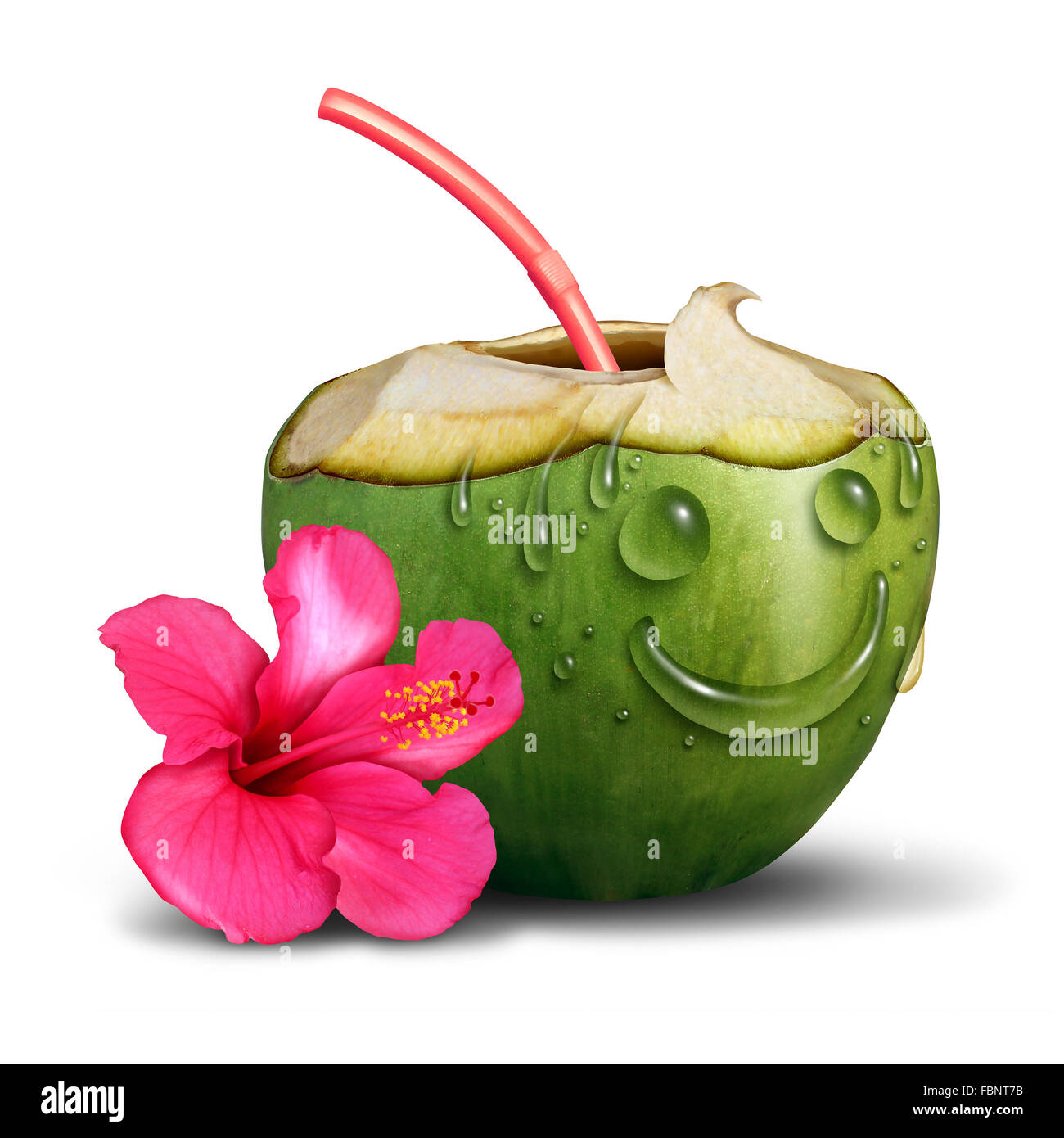 Happy tropical drink concept as a fresh cut coconut with a flower and water drops shaped as a smiling face as a - Stock Image