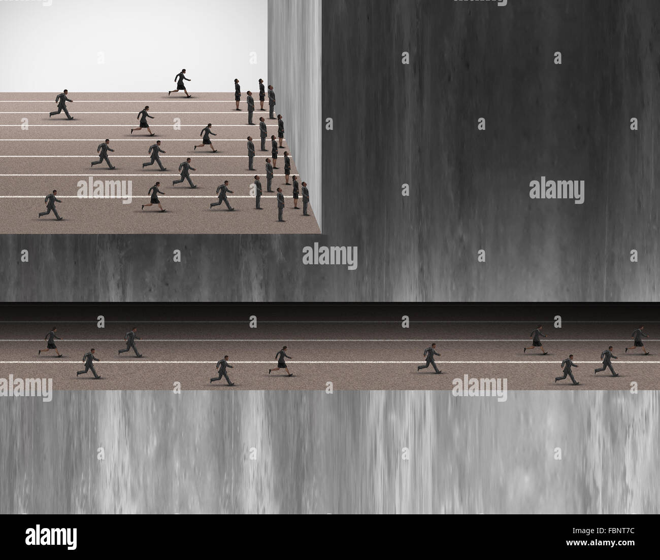 Hidden career opportunities business jobs concept as a group of people stopped at a wall and another group in an - Stock Image