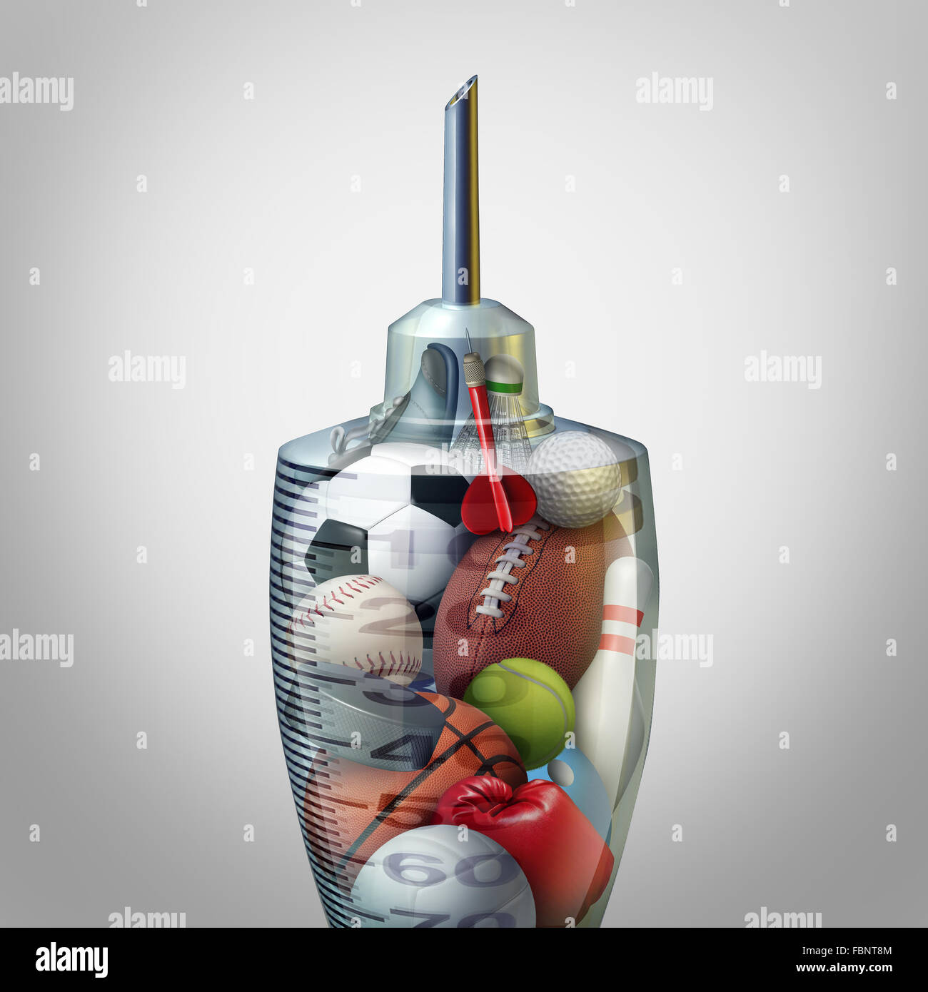 Sport and exercise medicine or sports health care concept and athletic medical care symbol as a doctor syringe or - Stock Image