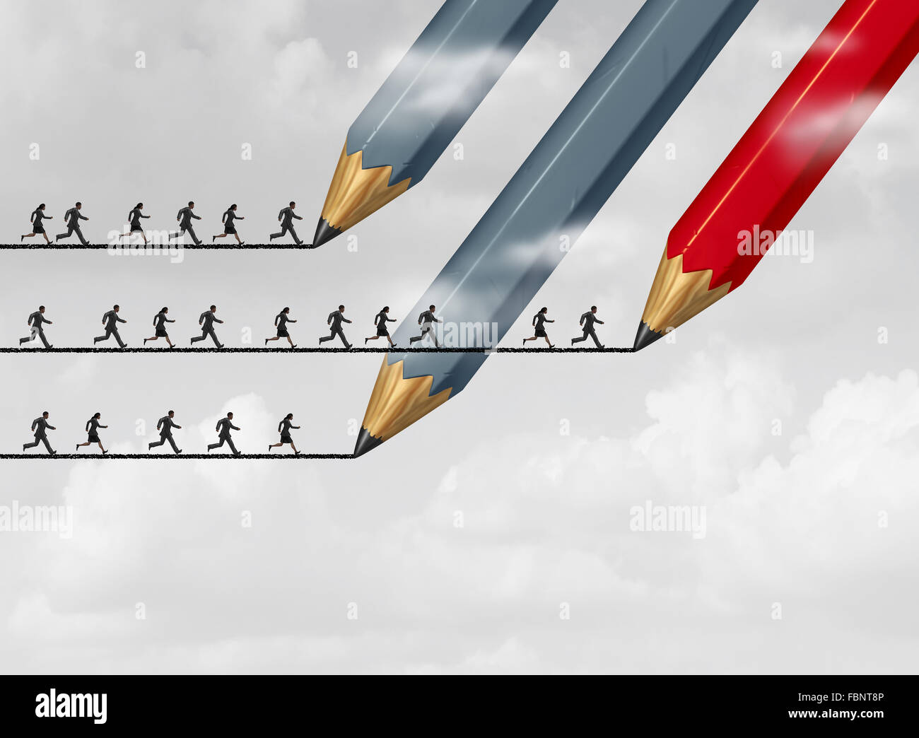 Success in business strategy with a group of pencils drawing a bridge line as a group of people running to achieve - Stock Image