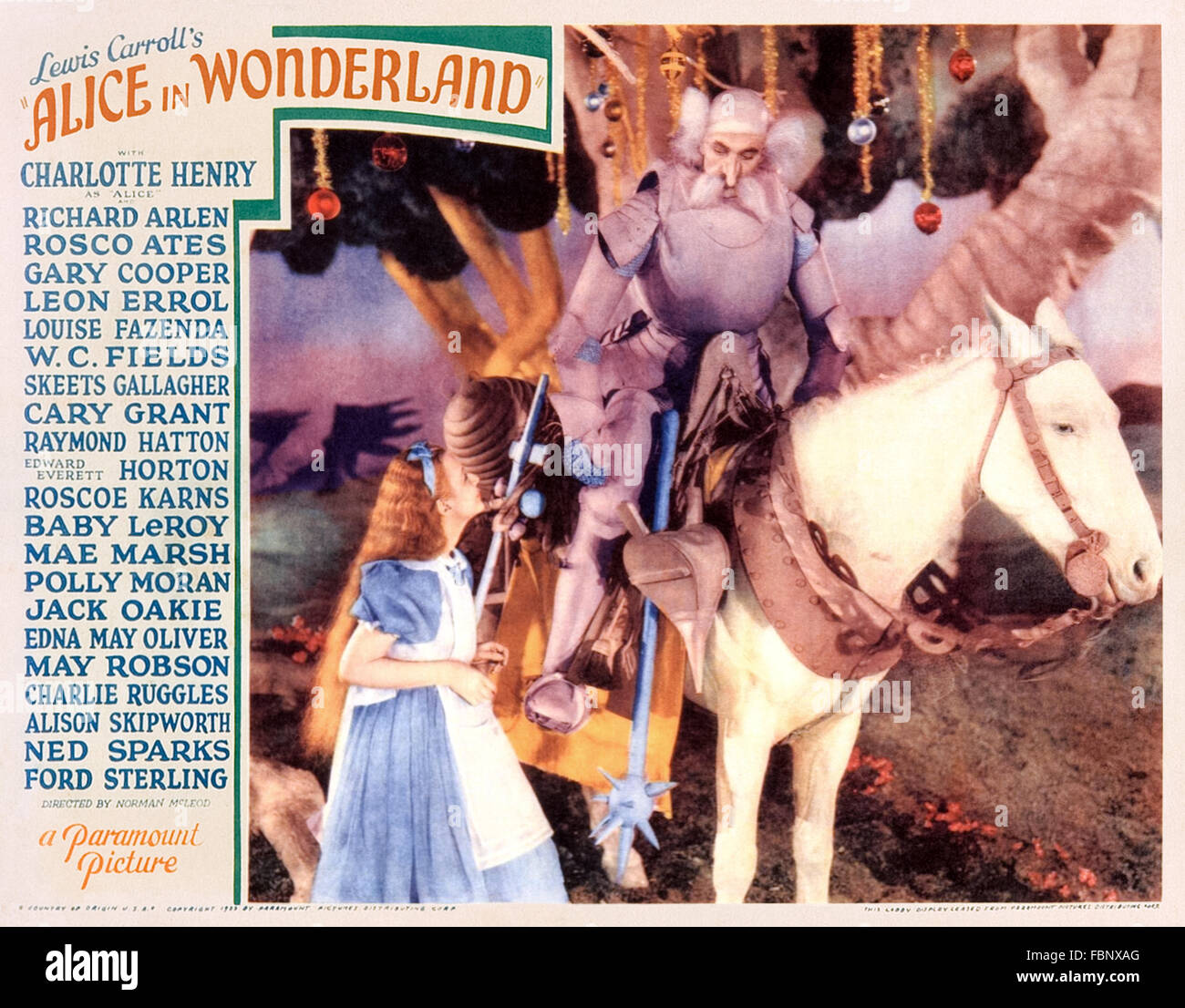 Alice with the White Knight, from lobby card promotion 'Alice in Wonderland' 1933 all-star film adaption - Stock Image