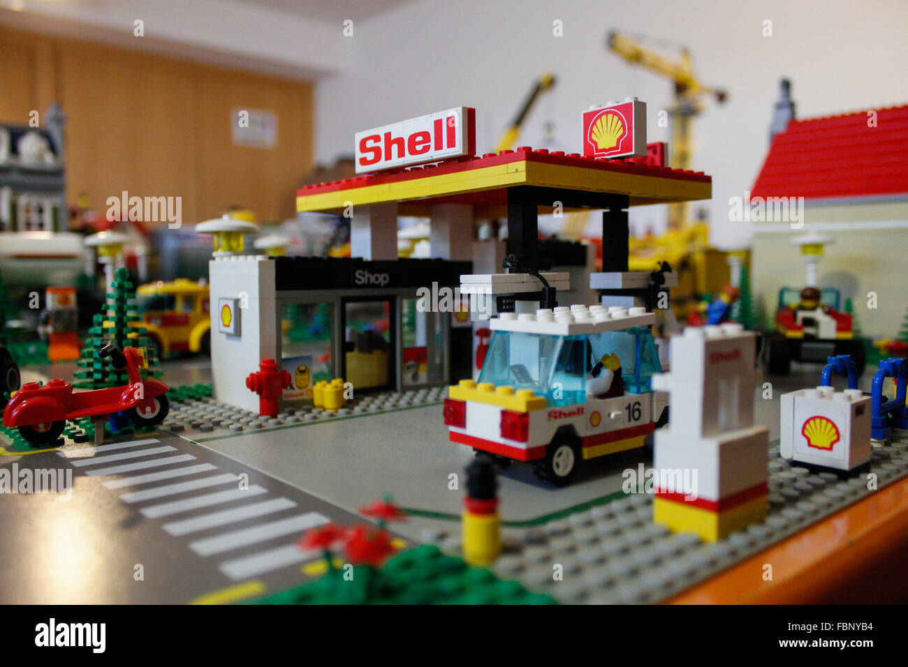 Torino Italy 17th Jan 2016 A Shell Gas Station Made Of Lego With