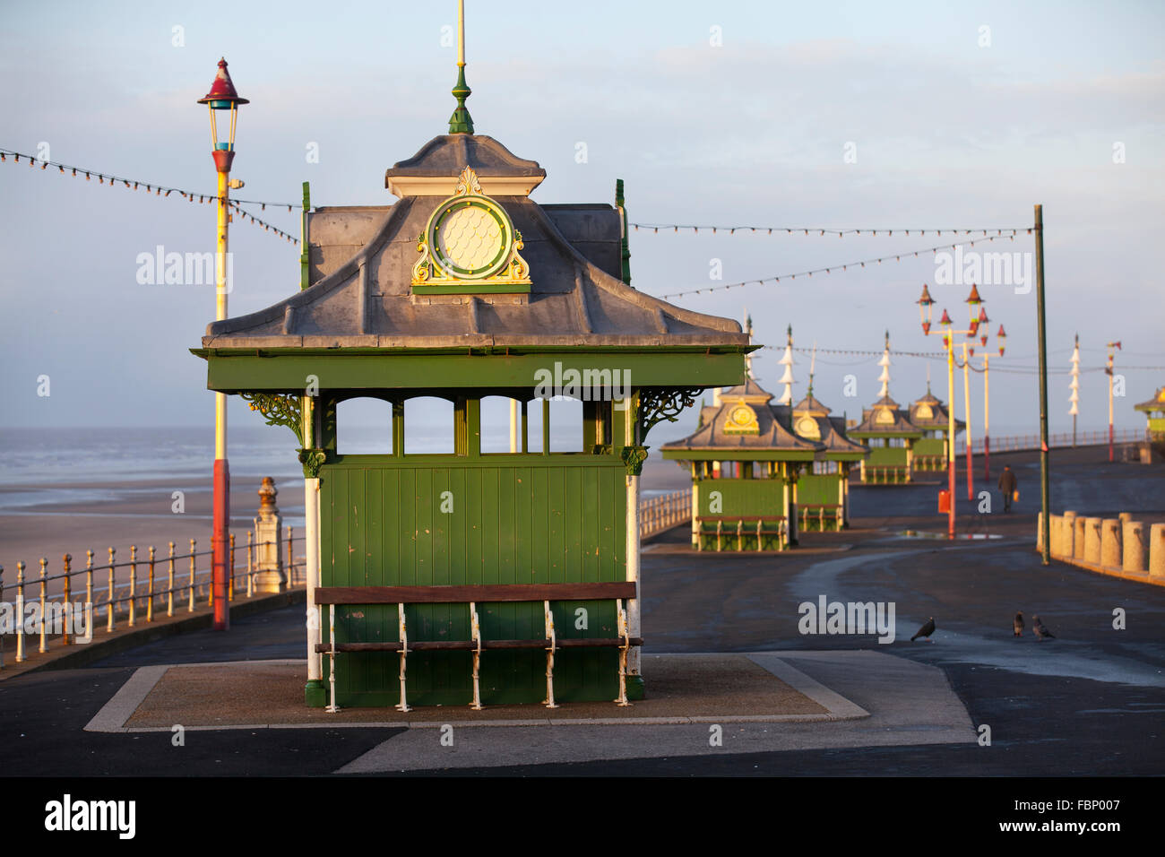 Preserved cast iron Edwardian  promenade  decorated shelters, Wrought iron, Victorian Shelter on Blackpool seafront - Stock Image