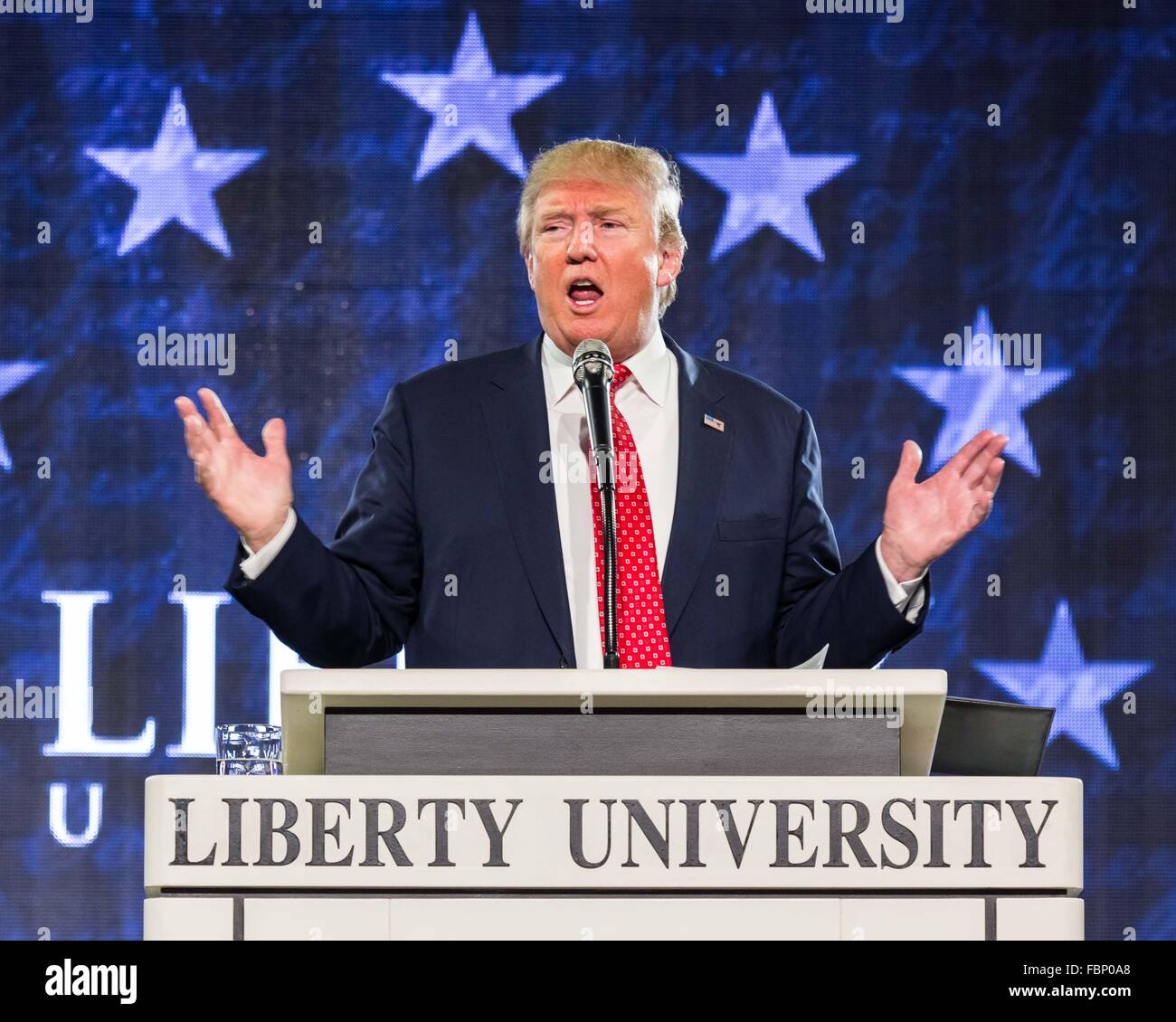 Lynchburg, Virginia, USA. 18th January, 2016. Donald Trump Speaking @ Liberty University Credit:  Mark East/Alamy - Stock Image
