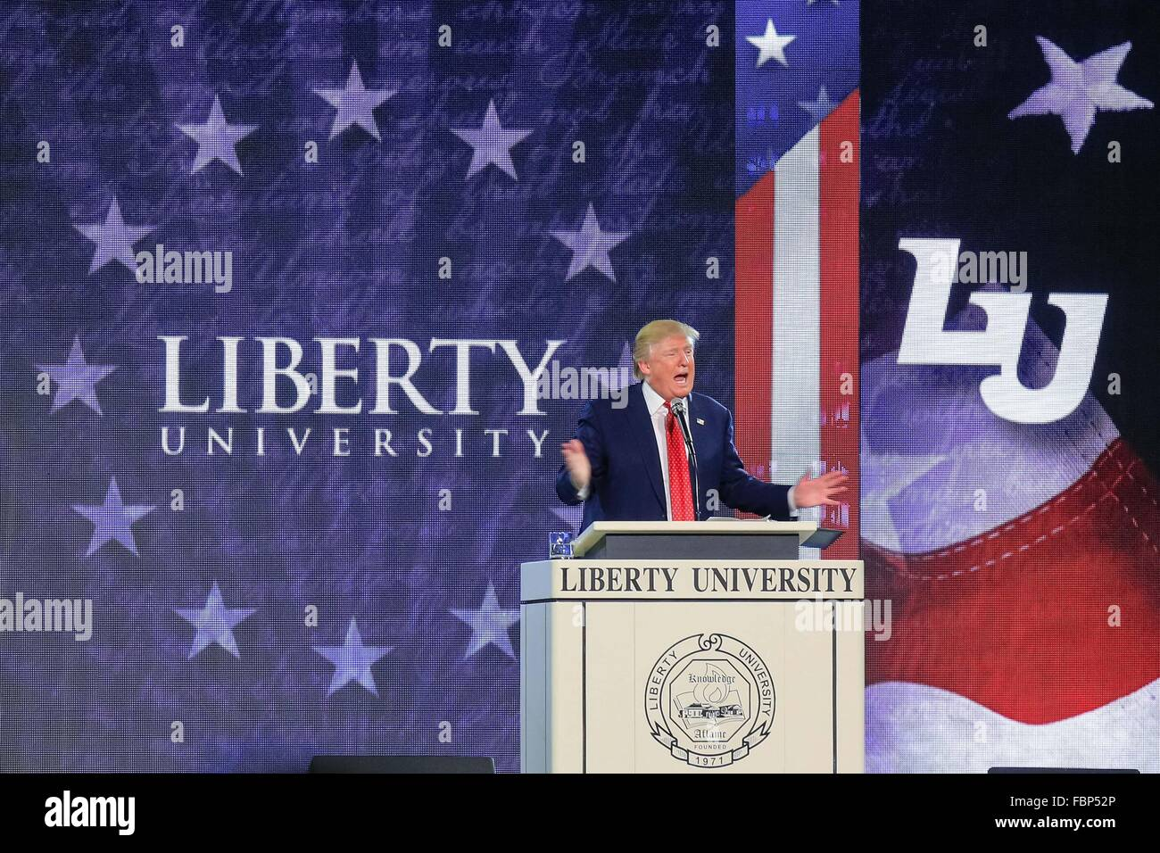 Donald Trump speaking at Liberty University - Stock Image