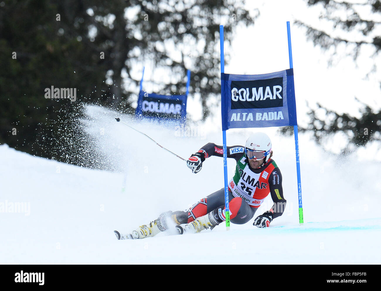 ALTA BADIA, ITALY - DECEMBER 22 2013: Competing in the AUDI FIS Alpine World Cup giant Slalom race on the Grand Stock Photo