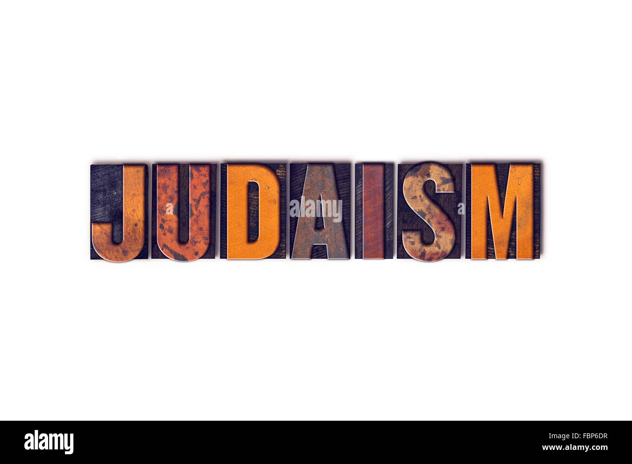 The word 'Judaism' written in isolated vintage wooden letterpress type on a white background. - Stock Image