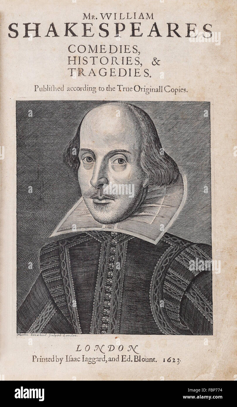 The title page of William Shakespeare's First Folio of collected works, published in 1623, with copper engraving - Stock Image