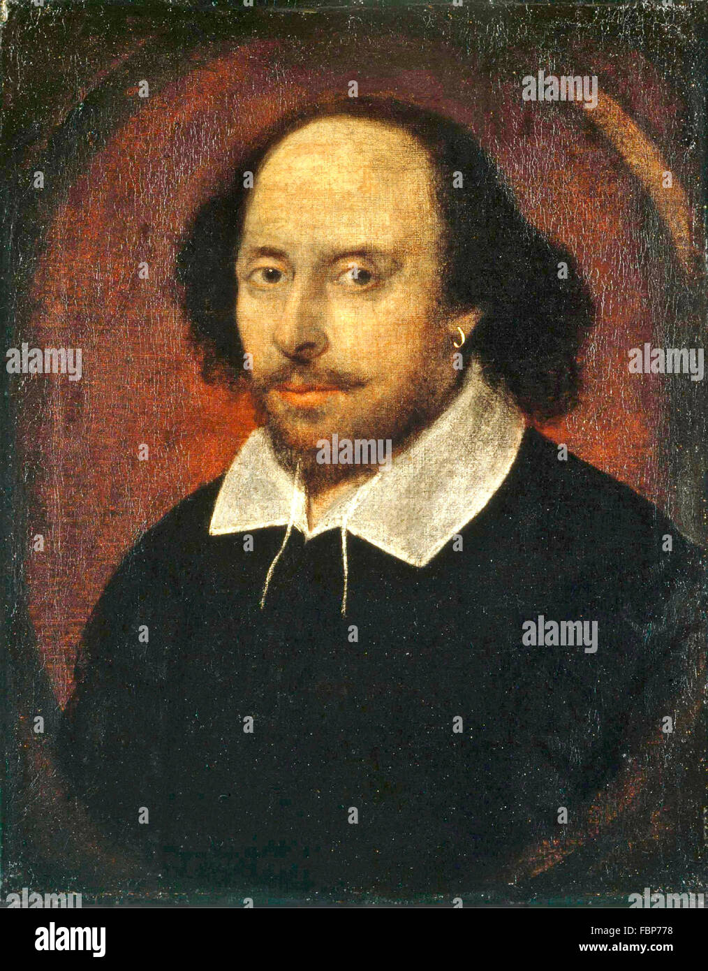 William Shakespearer. The 'Chandos Portrait' of William Shakespeare, by John Taylor (?), 1610 - Stock Image